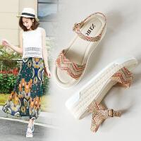 专柜新款【彩织带】坡跟凉鞋女鞋学生糖果色韩版厚底松糕鞋V31