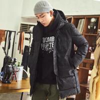 [2.5折价249.8元叠加200-20】唐狮羽绒服男中长款连帽暗纹迷彩韩版修身加厚青年冬季外套潮