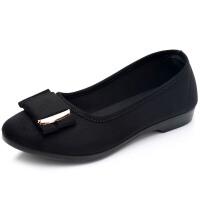 春季新款老北京布鞋平底平跟女鞋单鞋黑色工作鞋豆豆鞋妈妈鞋女士 黑色 平底205