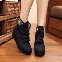 秋冬款民族风绣花鞋高坡跟老北京布鞋内增高简约休闲单靴子女短靴 素板黑色 单靴