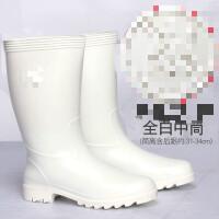 20190816080013517白色雨鞋男女中筒食品卫生靴雨靴防滑耐磨厨房水鞋水靴耐酸碱耐油
