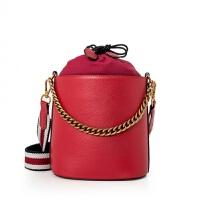 新款 女式单肩斜挎手提包 真皮女包时尚大容量水桶包