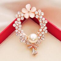 珍珠女西服衣服时尚胸花胸针披肩扣丝巾扣两用饰品