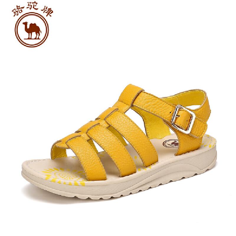 骆驼牌女鞋 夏季新款 头层牛皮日常休闲女凉鞋舒适透气凉鞋