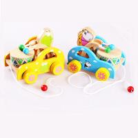 木制小熊敲鼓拖拉车玩具宝宝拖拉学步玩具拉绳拖车益智玩具