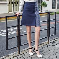 【街拍】海贝2017秋季新款时尚女装 高腰撞色不对称拼接A字修身显瘦半身裙