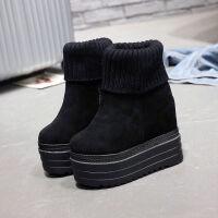秋冬新款单靴2018韩版坡跟马丁靴内增高厚底短靴超高跟裸靴女靴子