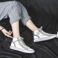 高帮帆布鞋2019夏季新款小白鞋女学生韩版运动板鞋潮女鞋休闲百搭