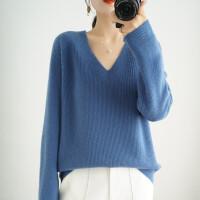 新款V领羊毛衫女士秋冬短款套头慵懒宽松毛衣纯色百搭针织打底衫