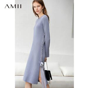 【到手价:181.9元】Amii极简韩版chic修身毛织连衣裙2018秋新款绑带显瘦针织连衣裙