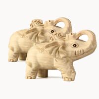 桃木大象一对 大象手把件吉祥如意摆件 实木雕家居风水工艺品