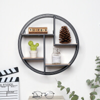 北欧风圆形铁艺壁挂ins墙上置物架创意实木书架客厅墙壁装饰挂件
