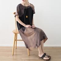 原创2018春夏季新款女装原创设计宽松大码复古印染雪纺文艺连衣裙袍子GH061 均码