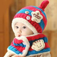 Yinbeler秋冬季保暖可爱男女宝宝帽子星星婴儿童帽子护耳加绒针织毛线帽围脖围巾套装 二件套
