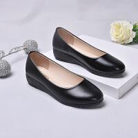 酒店工作鞋女黑色工装皮鞋女士上班工鞋软底舒适平底职业女鞋