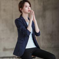 西装外套女2019春秋韩版修身休闲港风复古条纹短款西服上衣潮