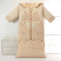 彩棉婴儿睡袋儿童纯棉加厚秋冬款信封式睡衣宝宝全棉防踢被 8808款棕色小猫