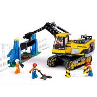 小鲁班拼装积木玩具工程系列履带式挖掘机男孩益智拼插5-6-7岁