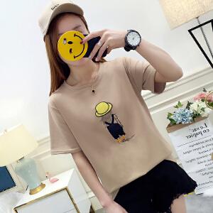 年卡通绣花女夏季短袖t恤女学生韩版时尚显瘦潮女