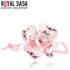 皇家莎莎RoyalSaSa韩版头饰奢华时尚款亚克力人造水晶扭夹发夹发饰-秀黛香怡(粉色)