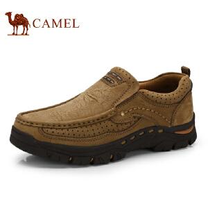 骆驼牌 男鞋 新品便捷套脚舒适休闲男鞋牛皮缝线低帮鞋