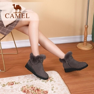 camel骆驼女鞋2017秋冬新款水钻点缀平跟短筒靴子兔毛保暖雪地靴女