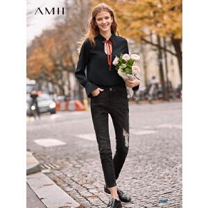 【到手价:129.9元】Amii极简港风chic欧货雪纺衫女2019春季新款撞色领带宽松套头上衣