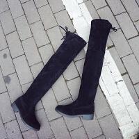 201909210200471422019秋冬季新款小辣椒粗跟过膝长靴女士黑色平底低跟长筒靴子