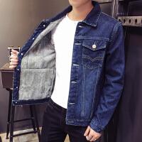 2018冬季牛仔外套男士加绒加厚修身韩版夹克休闲保暖男棉衣服潮流潮流 深蓝色 1608