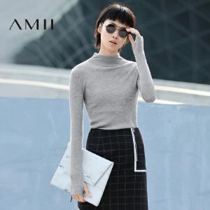 AMII[极简主义]女冬新品修身纯色立领百搭大码毛衣11631820