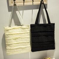 莫尔克(MERKEL)新款帆布女包森女系文艺小清新蕾丝帆布包韩版学院风甜美镂空托特包大包