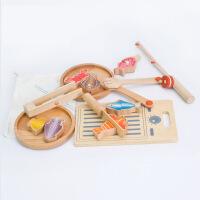 多功能钓鱼切切乐套装子游戏儿童过家家益智木制玩具