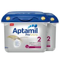 保税区直发 德国Aptamil爱他美白金版2段婴儿牛奶粉800g(6-10个月宝宝)宝盒装【2盒组合】