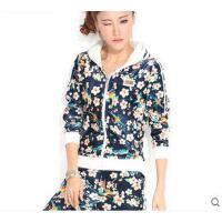女休闲服时尚修身显瘦潮流印花韩版天鹅绒金丝绒运动套装