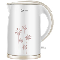 Midea美的电水壶 WH517E2b 304不锈钢电热水壶 1.7L容量 无缝一体内胆 双层防烫烧水壶(白玉)