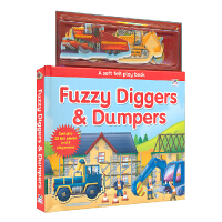 Fuzzy Diggers & Dumpers 工程车 毛绒磁贴书 英语场景游戏书 儿童英文原版进口图书