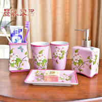 墨菲 欧式陶瓷卫浴五件套创意浴室用品卫生间洗漱杯洗漱套装摆件