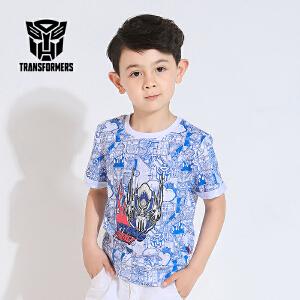 【满100减50】变形金刚正版授权童装男童夏装蓝色印花短袖纯棉T恤