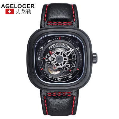 agelocer艾戈勒 瑞士进口品牌手表防水大表盘创意潮流男表自动机械表男士皮带腕表男支持七天无理由退换货,零风险购