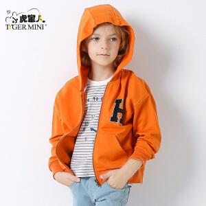 小虎宝儿童装男童连帽外套儿童夹克衫中大童韩版2018春款新品