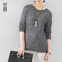 初语冬季新品纯色立体纹理花纱针织毛衣套头学生针织衫女8530323022