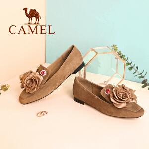 Camel/骆驼女鞋 2018春季新款 优雅花饰低跟复古女鞋方头方跟浅口单鞋女