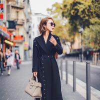 №【2019新款】年轻人穿的大衣女冬装2018新款复古收腰修身中长款风衣外套 黑色