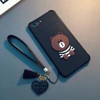新款iphone7/8plus手机壳挂绳苹果Xs Max硅胶软套X日韩卡通可爱6s 6/6s 4.7寸(黑色)