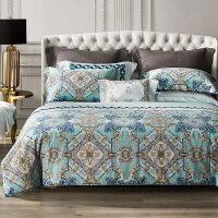 欧式全棉四件套60支长绒棉套件1.8m床贡缎活性印花裸睡亲肤床品 实物如图