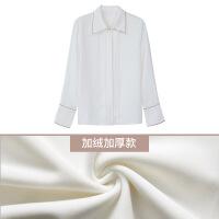 加绒白衬衫女长袖2018秋冬新款韩版宽松雪纺衬衣女士休闲打底上衣