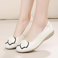 妈妈鞋平跟平底中老年女单鞋浅口皮鞋休闲韩版蝴蝶结软底