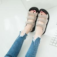 韩国厚底沙滩魔术贴平底罗马百搭凉鞋女新款2019平底夏季学生女鞋
