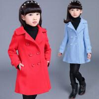 韩版翻领复古双排扣女童毛呢外套 中大儿童中长款呢子大衣韩版童装保暖外套