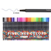 彩色勾线笔针管笔 金属纤维笔头 彩色中性笔36色水性笔勾线水彩笔
